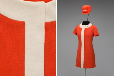 United Air Lines stewardess uniform by Jean Louis 1968 Fashionaire, a Division of Hart, Schaffner & Marx Hat by Mae Hanauer Collection of SFO Museum Gift of United Airlines Historical Foundation Hat insignia: Gift of Georgia Panter Nielsen Photo credit: SFO Museum