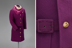 Trans World Airlines female flight attendant uniform by Valentino 1971 Collection of SFO Museum Gift of TWA Clipped Wings International, Inc. Photo credit: SFO Museum