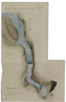 """""""Otteraaens Sænkning ovenfor Hallandsfos i Valle"""". Kolorert tegning. Se også NRA_VaV_M53-7_b fra 1869 som viser løpet før utvidelsen."""