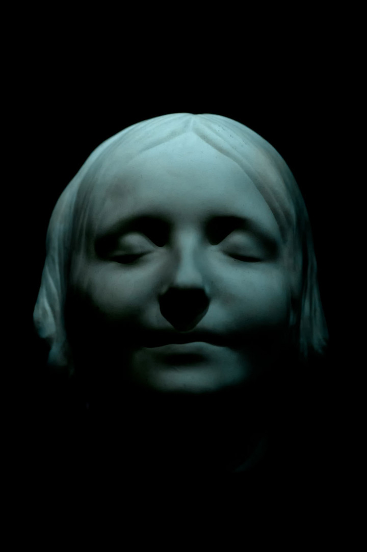 Death mask in porcelain of L'Inconnue de la Seine at the museum of the Order of St John in London's Clerkenwell