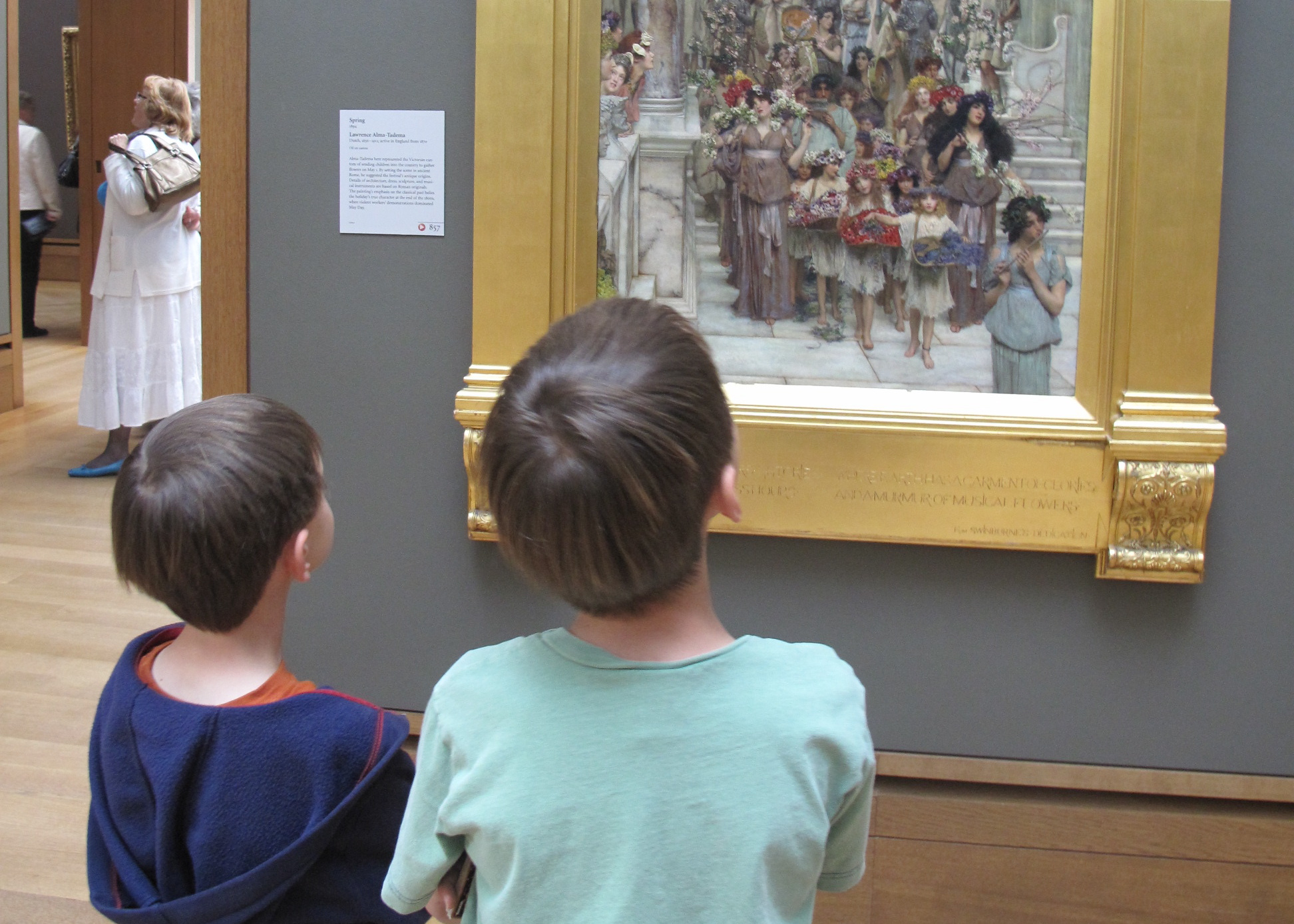 Upstairs We Found Our First Mystery Object The Painting Spring By Dutch Artist Alma Tadema Above A Question On Back Of This Paintings Activity Card