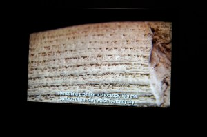 Photo of exhibition video on Cuneiform Writing