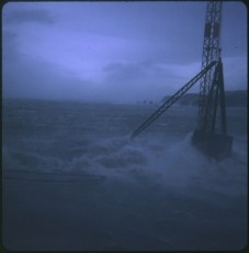 TEV Wahine wreck with crane attached in stormy weather