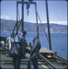 Two men aboard the TEV Wahine wreck during the salvage
