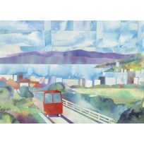 Cable Car Block Print, Cable Car Art, Watercolour