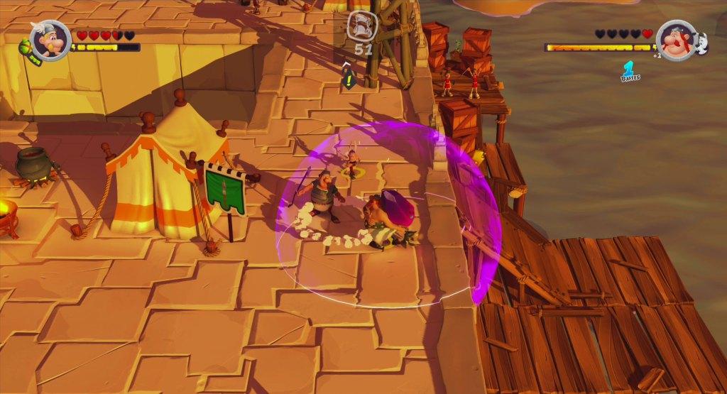 Obélix utilisant le menhir magnétique dans Astérix et Obélix XXL 3