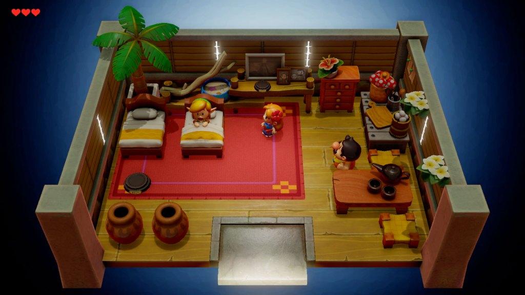 Début de l'histoire de Zelda Link's Awakening, Link est dans un lit