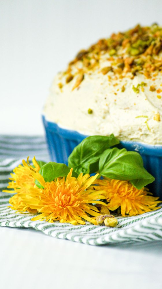 Pistachio cake with lime and basil