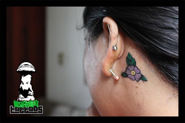 Flower on neck