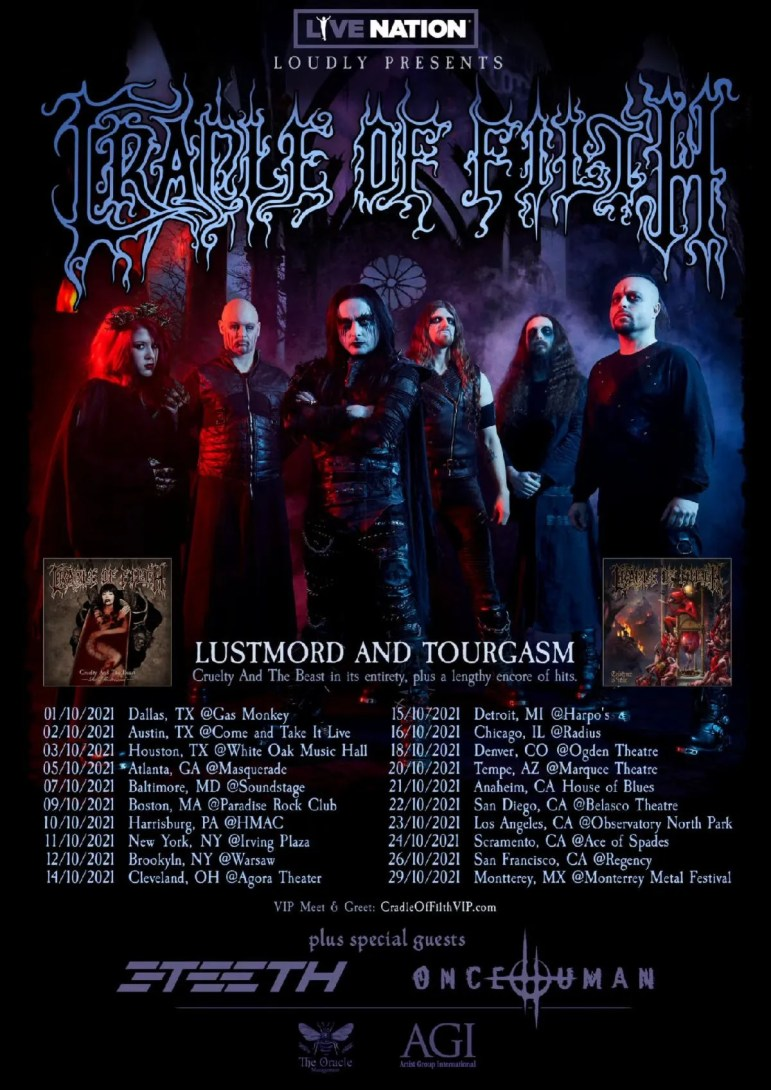 Cradle of Filth Announces Fall 2021 Lustmord and Tourgasm Tour Dates -  mxdwn Music