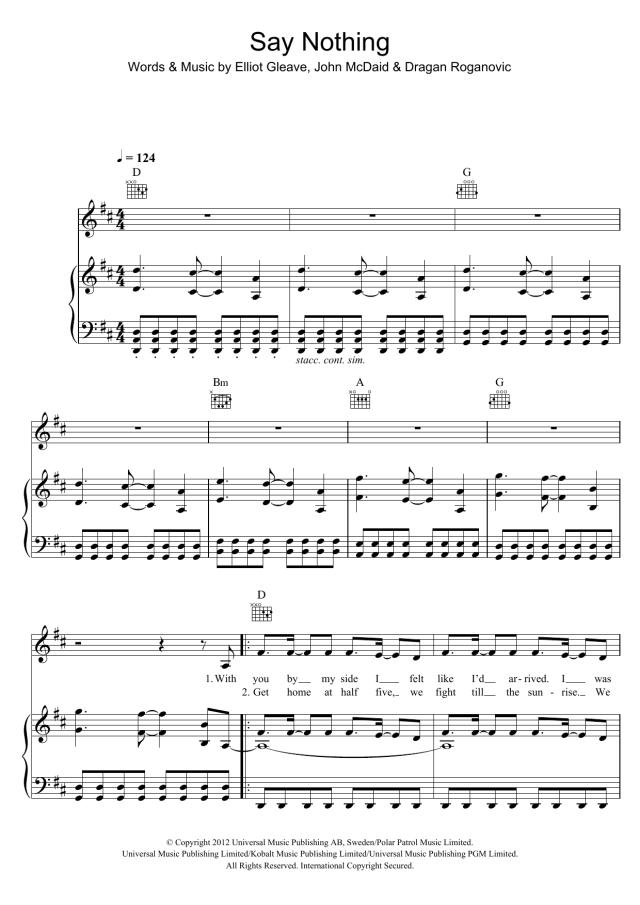 "Example ""Say Nothing"" Sheet Music  Download Printable PDF Music"