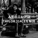 ベンチでギターを弾く男性