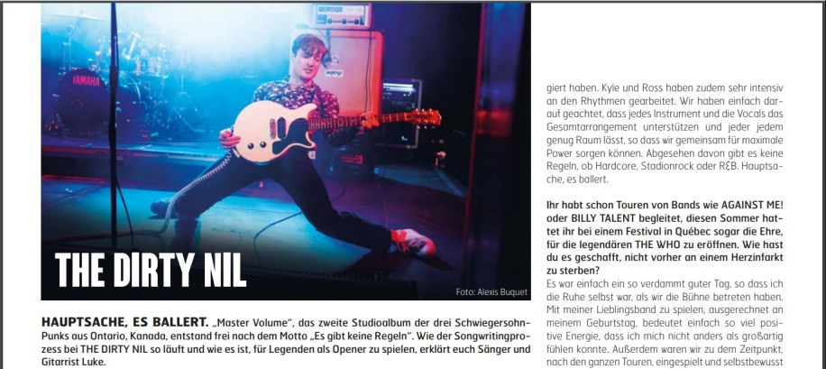 The Dirty Nil, Fuze Magazin 69 OCT/NOV 18, http://fuze-magazine.de