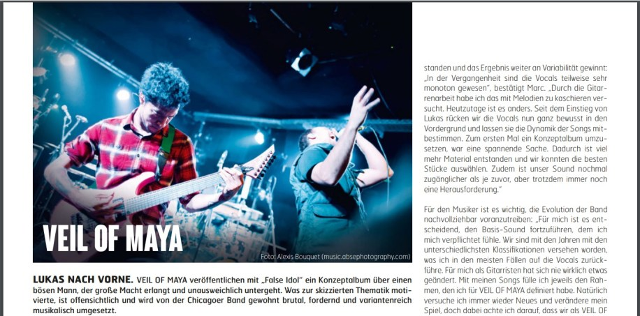 Veil Of Maya, Fuze Magazin 66 OCT/NOV 17, http://fuze-magazine.de