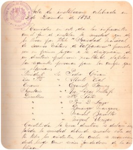 The first complete set of minutes of the Sociedad, dating from 5th December 1893