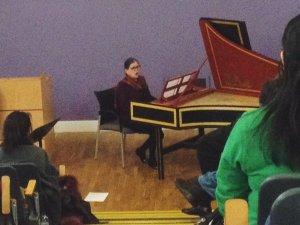 Susan McClary performs Stradella's recitative 'Deh, che più tardi a consolar' during the Cramb Lecture. Courtesy of Kate Molleson.