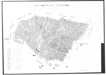 A map of Madrid's distrito centro showing the locations of gabinetes fonográficos (dots) and zarzuela theatres (squares) around 1900.
