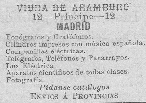 A similar advertisement from 1900 for the gabinete Viuda de Aramburo. The gabinete was also active in the manufacturing and selling of electrical equipment.