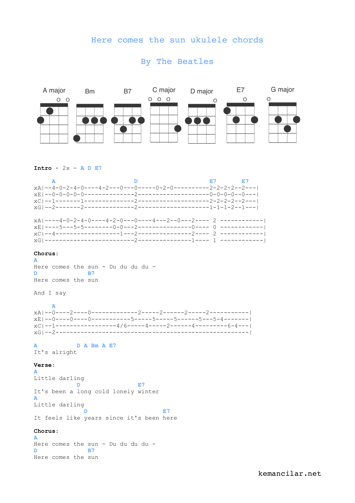 Here Comes The Sun Ukulele Chords