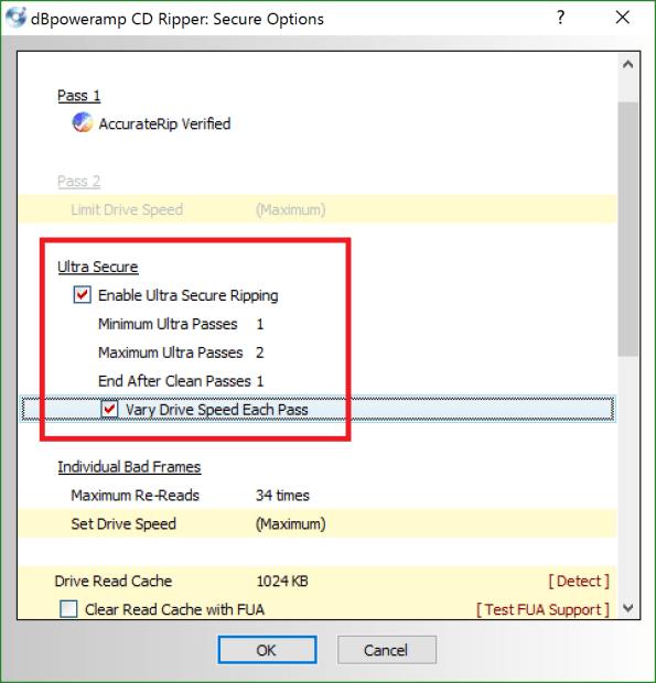dBpoweramp CD Ripperの設定方法:Secure Rip Abort