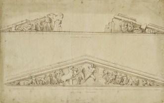 Жак Карре. Восточный и западный фронтоны Парфенона (1674 г.) (The British Museum)