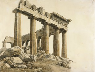 Джованни Баттиста Лузиери. Вид на Парфенон с северо-запада (1802 г.) (Benaki Museum)