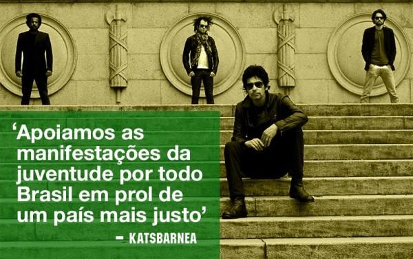 Nova formação da banda Katsbarnea: Moisés, baixista; Jeff Fingers, guitarrista; Mahash, baterista; e Paulinho Makuko, vocalista