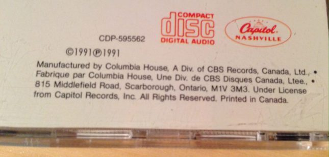 Columbia House's notice was usually more subtle and blended in with the artwork.