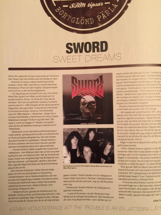 """Review of """"Sweet Dreams"""" by Sword from Sweden Rock Magazine"""