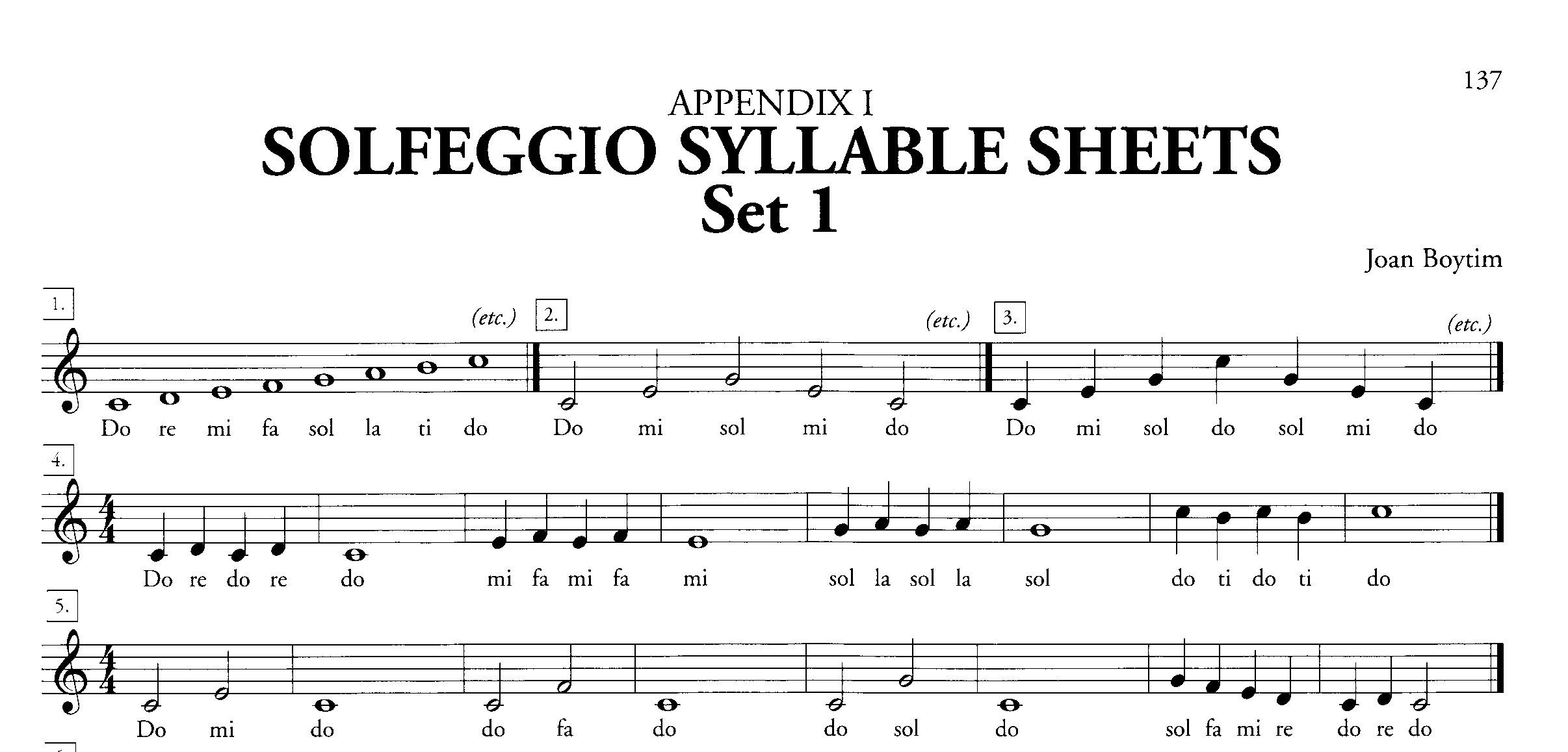 Boytim Solfeggio Syllable Sheet Set 1 Sample