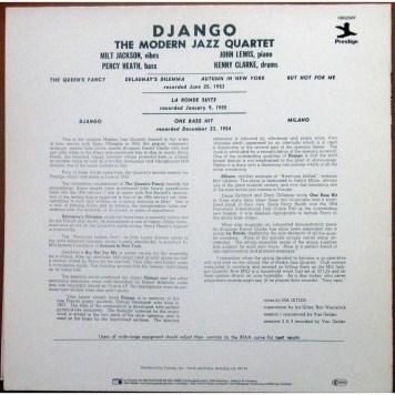 The Modern Jazz Quartet Django back