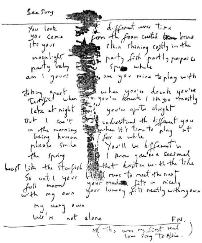 Sea Song hand written lyrics