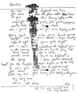 The story behind sea song by robert wyatt sea song hand written lyrics stopboris Images