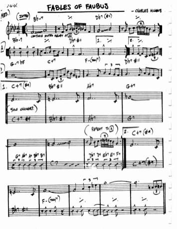 Fables of Faubus lead sheet