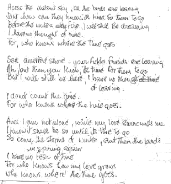 Who Knows Where The Time Goes hand written lyrics