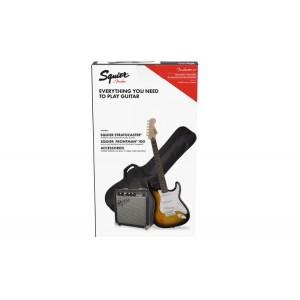 pack guitarra eléctrica squier affinity strato special brown sunburst frontman 10g