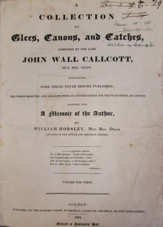Callcott: Collected Glees, Canons and Catches MR280.a.80.38 and 29