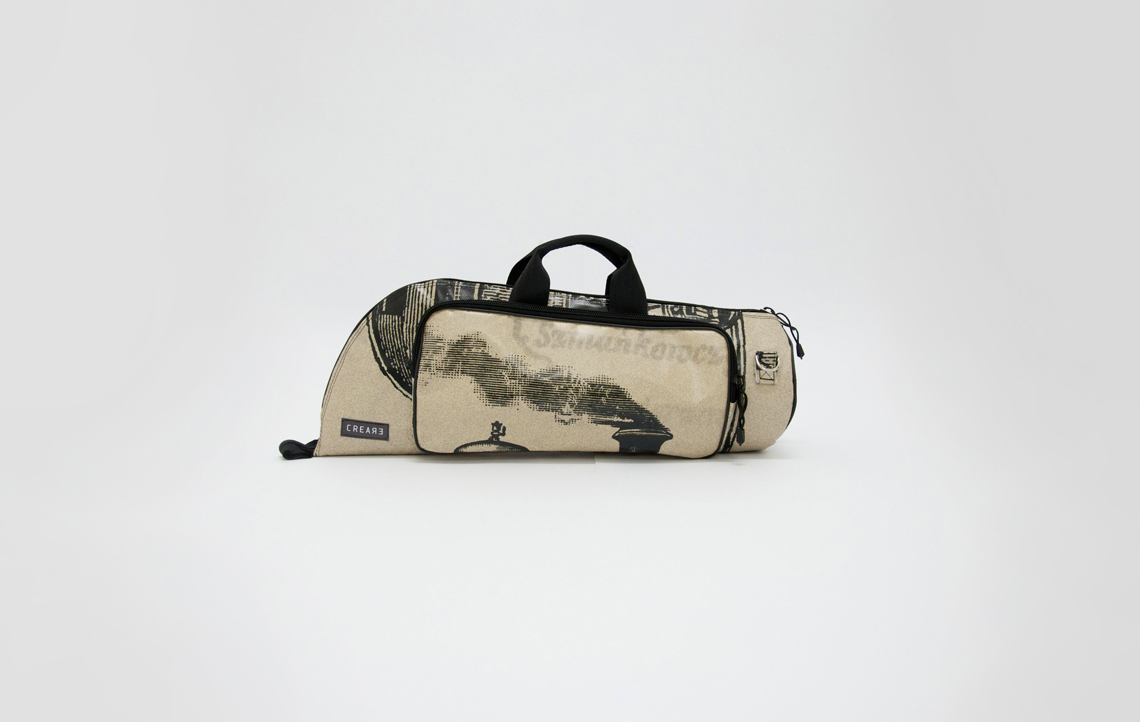 detail of eco handcrafted trumpet case musicbags.crea-re.com 1
