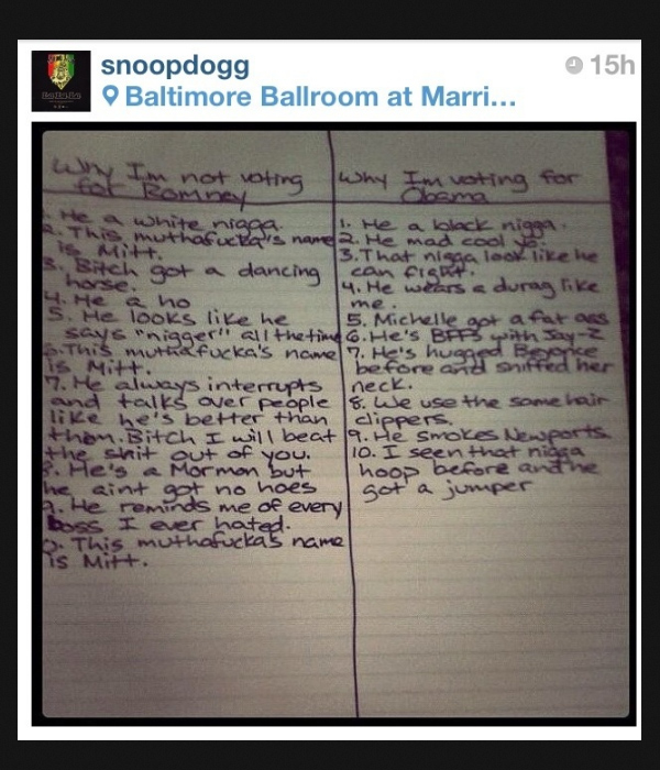 snoop compares mitt romney and barack obama