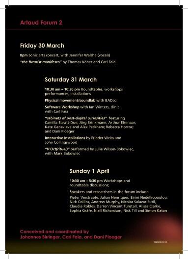 Artaud Forum 2 - 2012-2