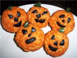halloween party snacks jack-o-lantern rice balls