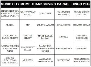 macy's thanksgiving parade bingo cards 2015