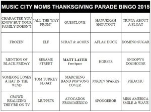 macy's thanksgiving day parade bingo cards 2015