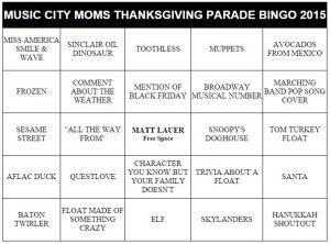 thanksgiving family fun parade bingo cards