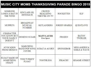 nashville family fun thanksgiving parade bingo