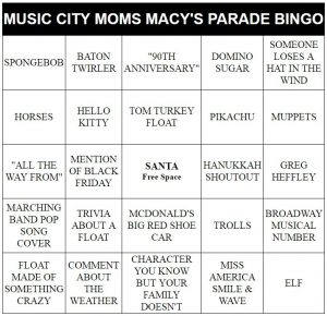 Macy's Thanksgiving Day Parade bingo cards