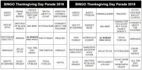thanksgiving game parade bingo cards