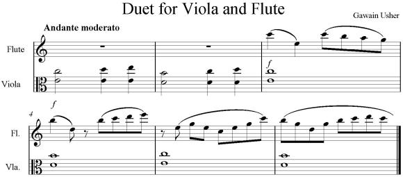 Duet for viola and flute excerpt.