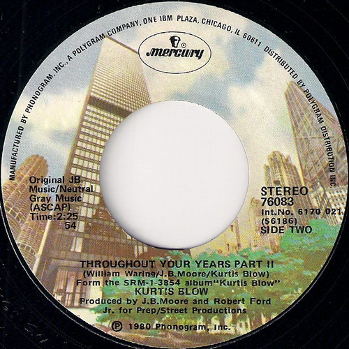 Kurtis Blow - Throughout The Years Part II, Mercury 45