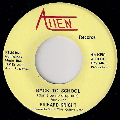 Richard Knight - Back To School (Don't Be No Drop Out), Allen 45